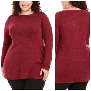 Wine Colored Curved Hem Tunic Sweater Plus Size 3X